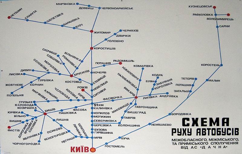 схема автобусного сообщения с