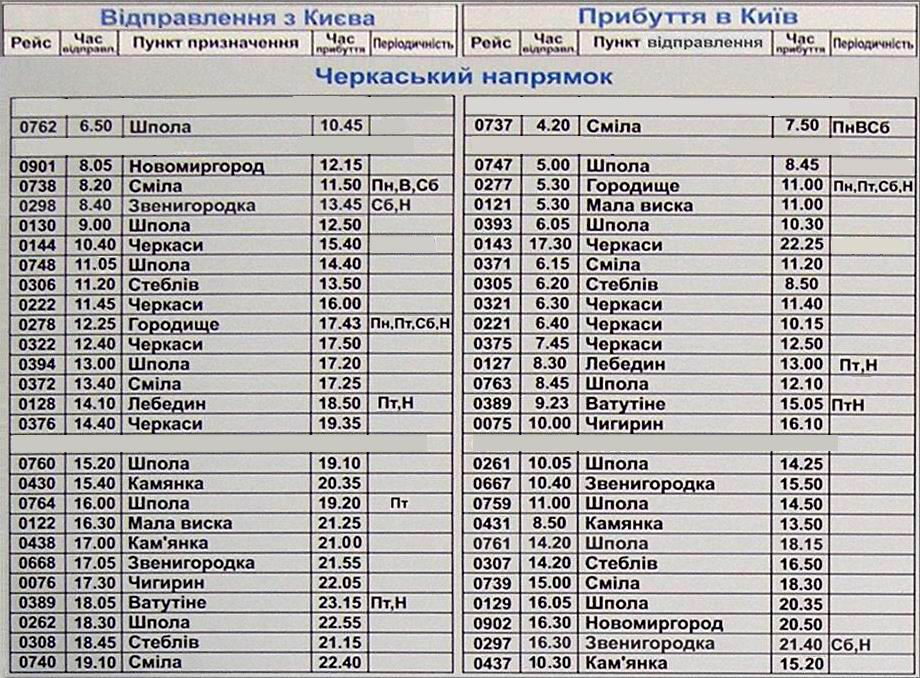 Автостанция выдубичи расписание киев